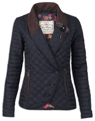 Jack Murphy Glenna Double Breasted Quilted Equestrian Jacket is designed to flatter and incredibly chic