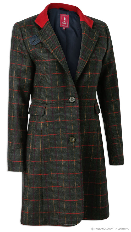 Jack Murphy Pamela Tweed Coat | Primary Green with Red Flashes Collar