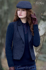 lady with matching cap wearing Jack Murphy Kay Navy Delight Tweed Waistcoat