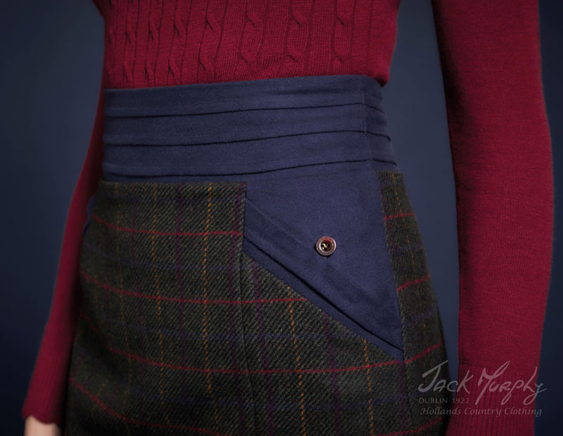 Waistband detail in Green and Red Tweed