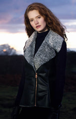 lady wearing Jack murphy Sia Faux Fleece Vest gilet