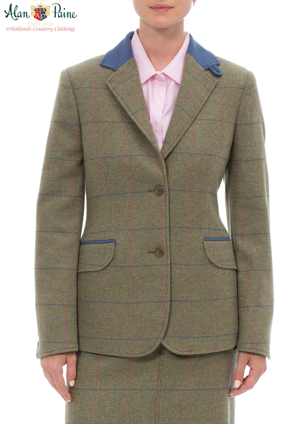 Juniper and blue trim Combrook Ladies Tweed Blazer by Alan Paine.