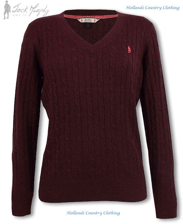 Jack Murphy Classic Ladies V Neck Pullover Grape