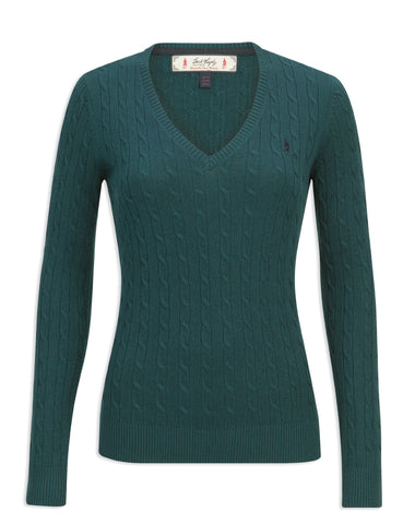 Jack Murphy Katie Vee Neck Sweater | Pine Green