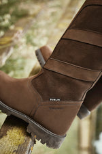Heel detail showing leather grain and waterproof logo