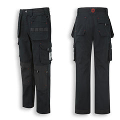 Back and Side View Black Extreme Multi-pocket Tuffstuff Work Trousers