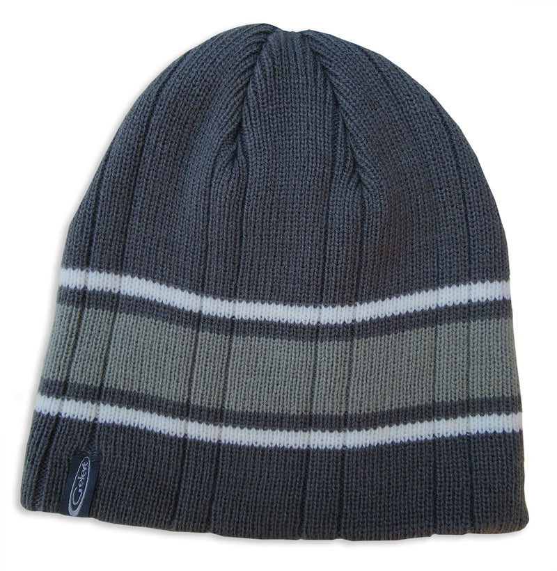 Grey Striped knitted watch cap