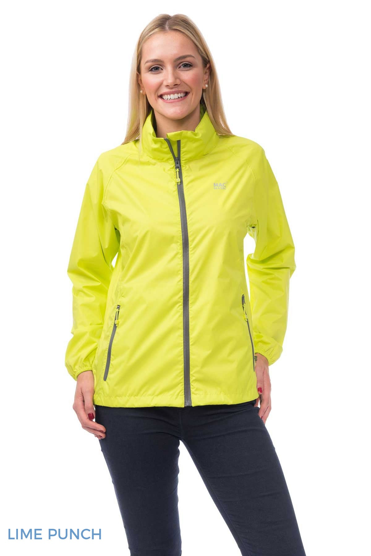 Woman Wearing Lime Punch Mac In A Sac Origin Waterproof Packaway
