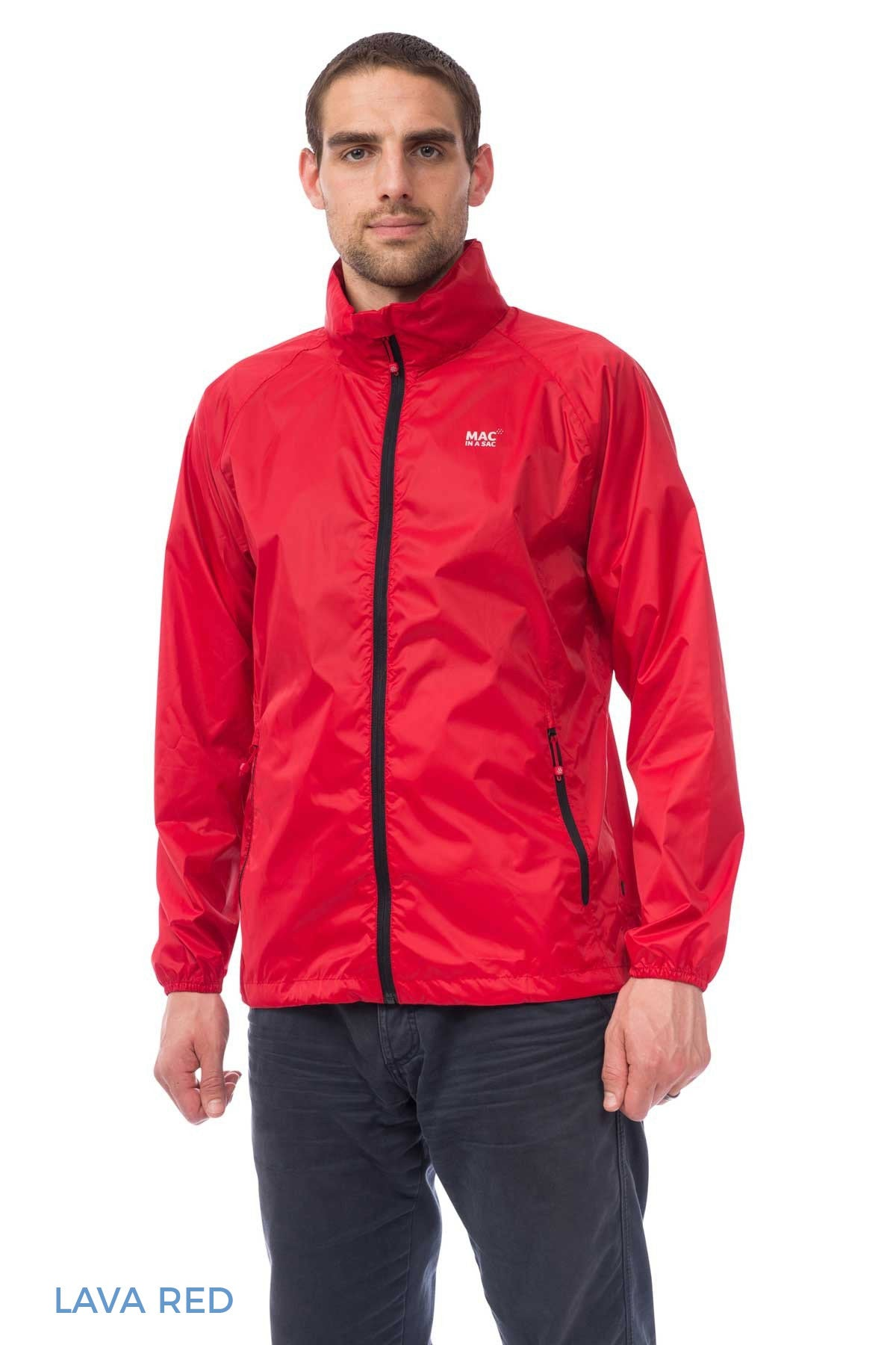 Man Wearing Lava Red Mac In A Sac Origin Waterproof Packaway