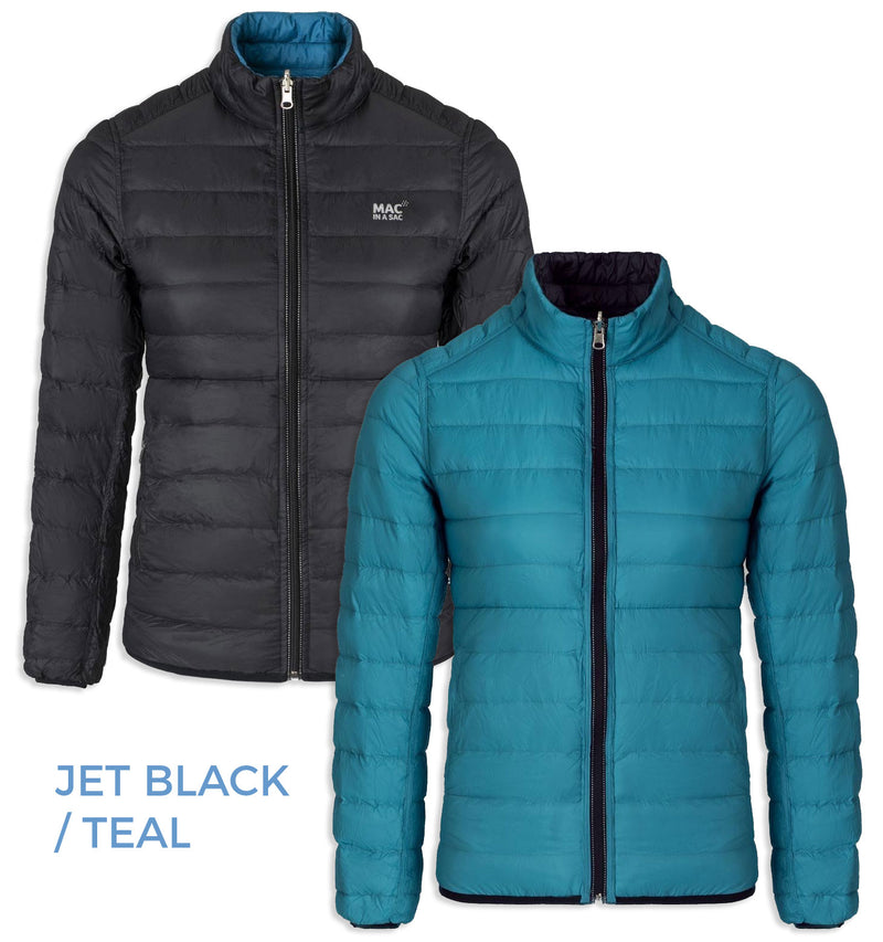 teal Mac in a Sac - Ladies Reversible Polar Packable Down Jacket