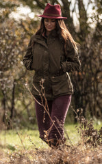 Olive Alan Paine Dunswell Ladies Waterproof Coat with wine red felt hat