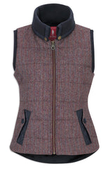 plum berry herringbone tweed Jack Murphy Malory Ladies Tweed Waistcoat