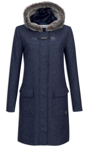 Jack Murphy Meredith Tweed Duffle Coat - Navy Herringbone