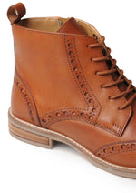 Silver Street Ladies Cognac Brogue Leather Boot