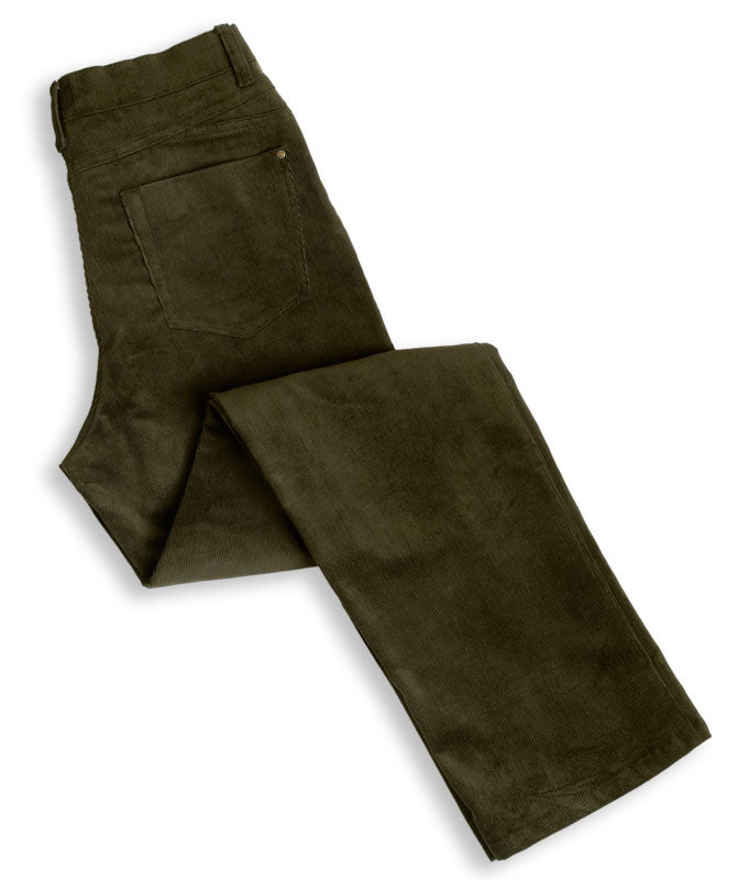 Dark Olive Hoggs of Fife Ladies Stretch Cord Jeans