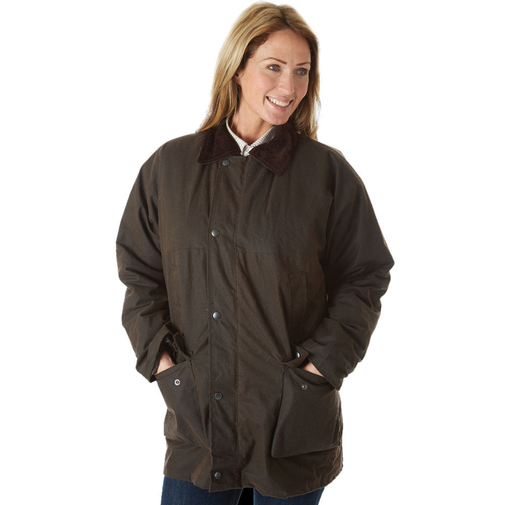 Lady wearing BrownSherwood Forest Classic Padded Wax Jacket