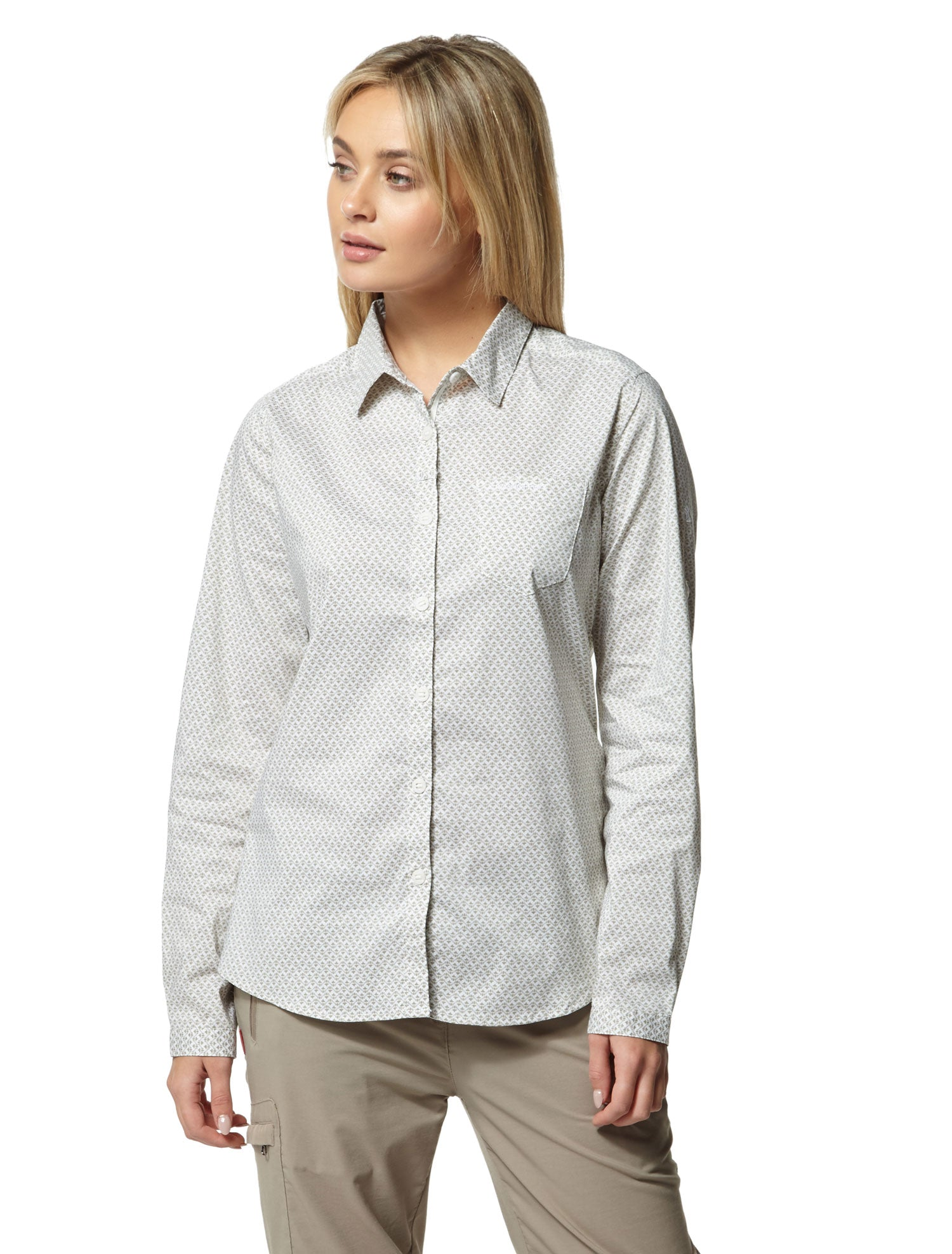 Lady wearing Bush Green Craghoppers NosiLife Verona Long Sleeve Shirt