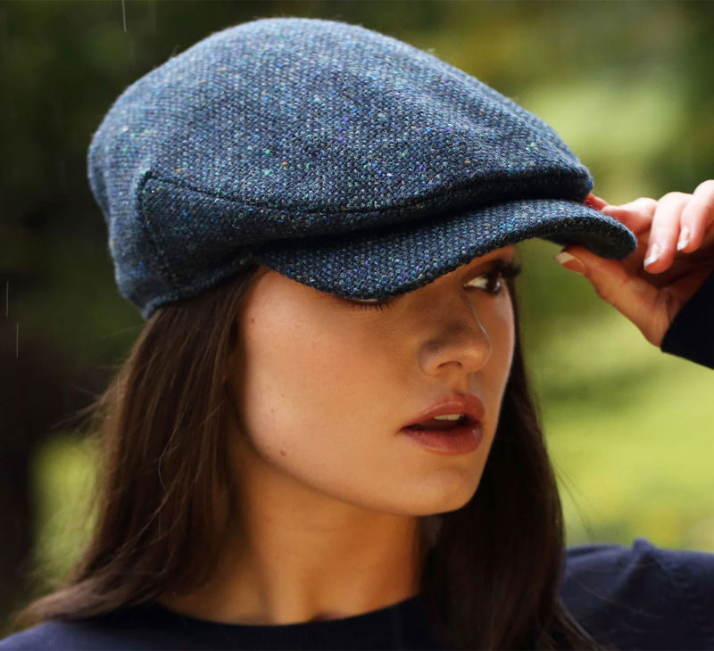 Navy Full Body Tweed Cap by Hanna Hats of Donegal