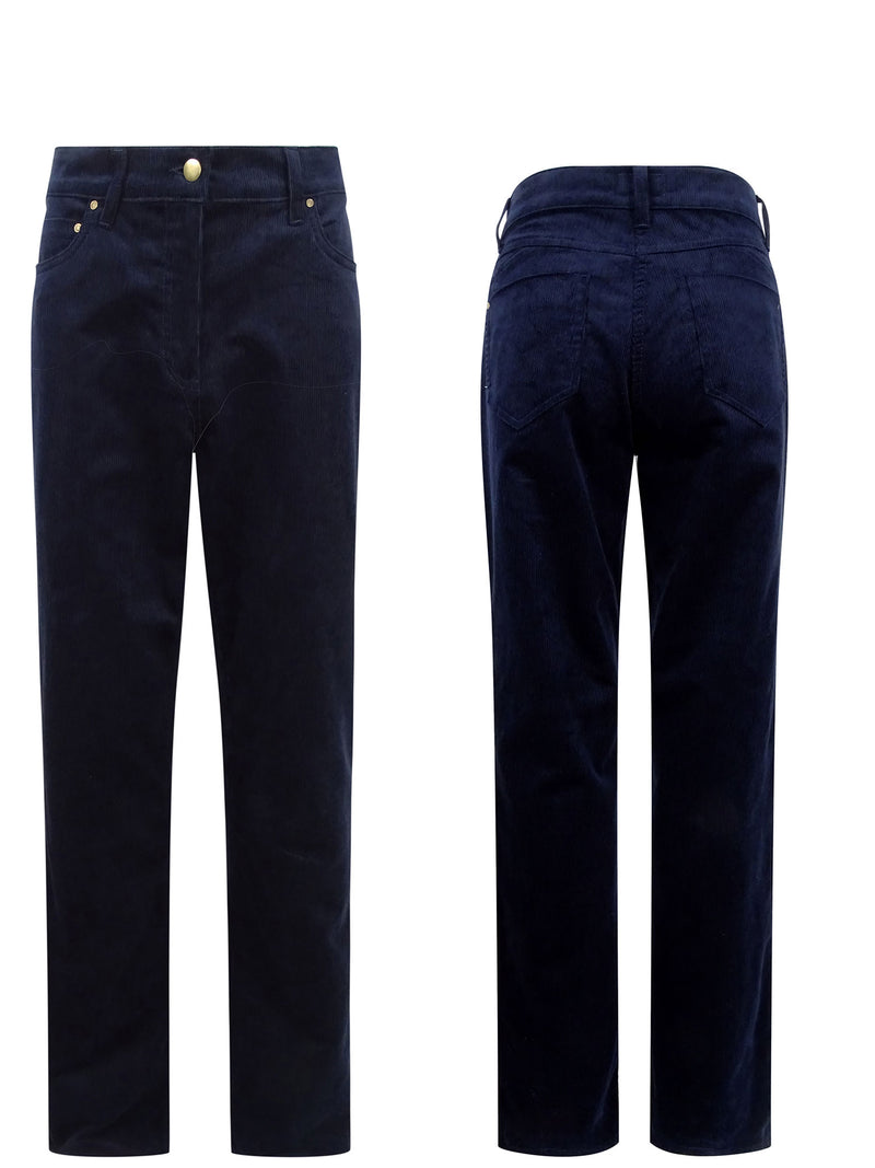 Navy Hoggs of Fife Ladies Stretch Cord Jeans