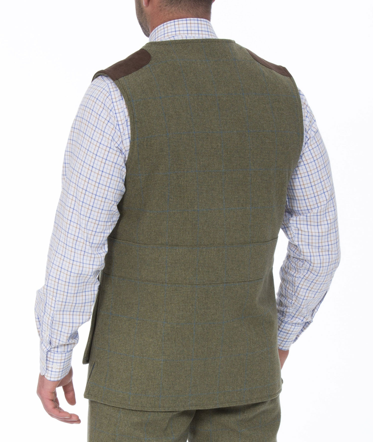 reverse view Combrook Men's Tweed Shooting Waistcoat by Alan Paine