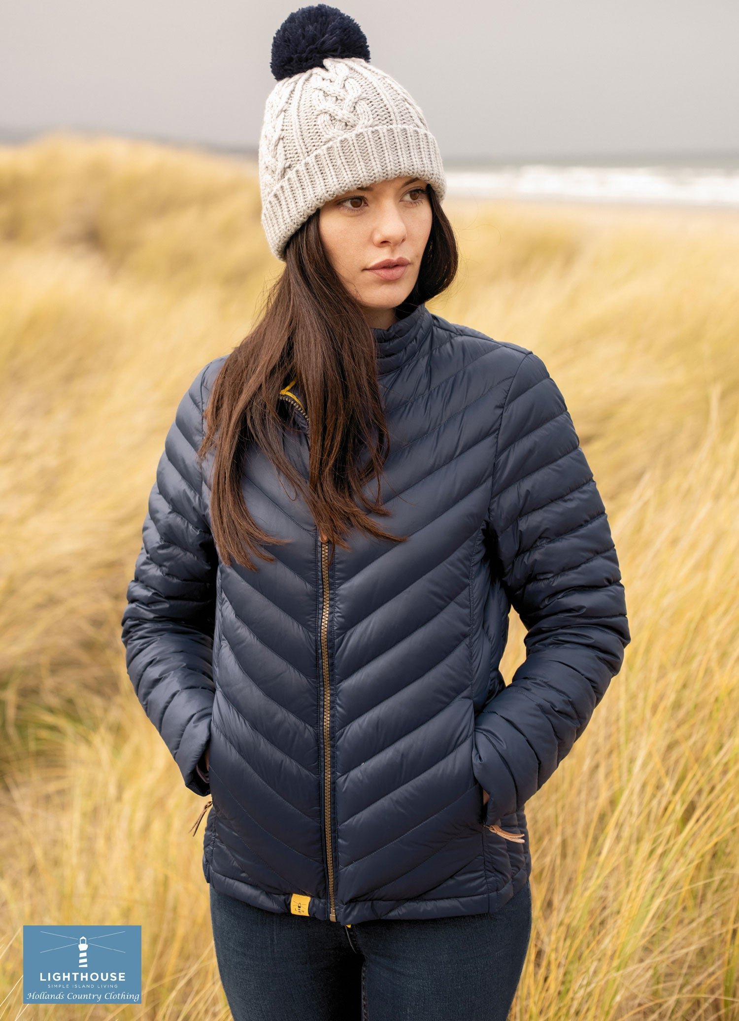 DArk NAvy Ladies Lara Quilted Down Jacket by Lighthouse