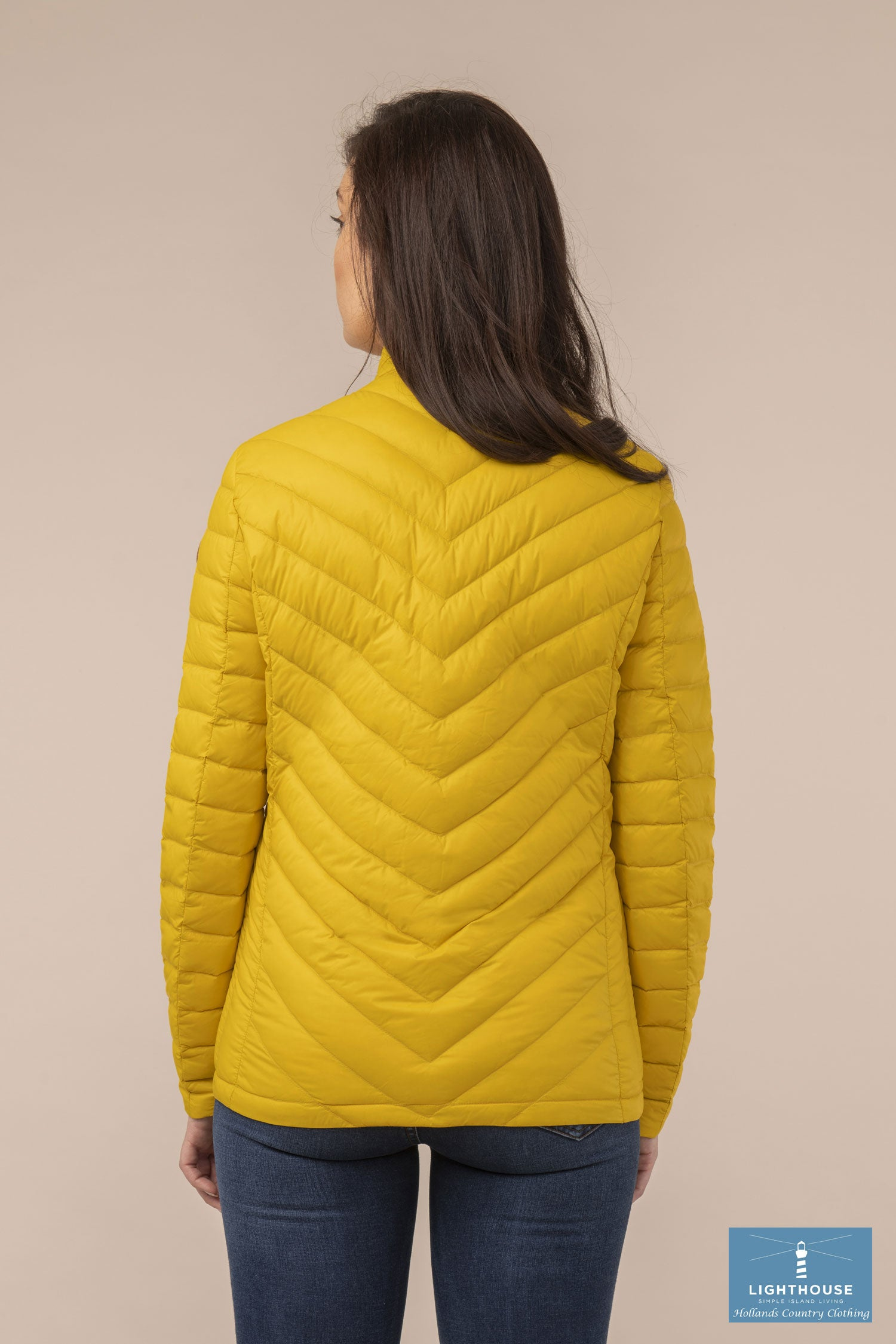 Back View Ladies Lighthouse Lara Down Jacket Sunrise Yellow