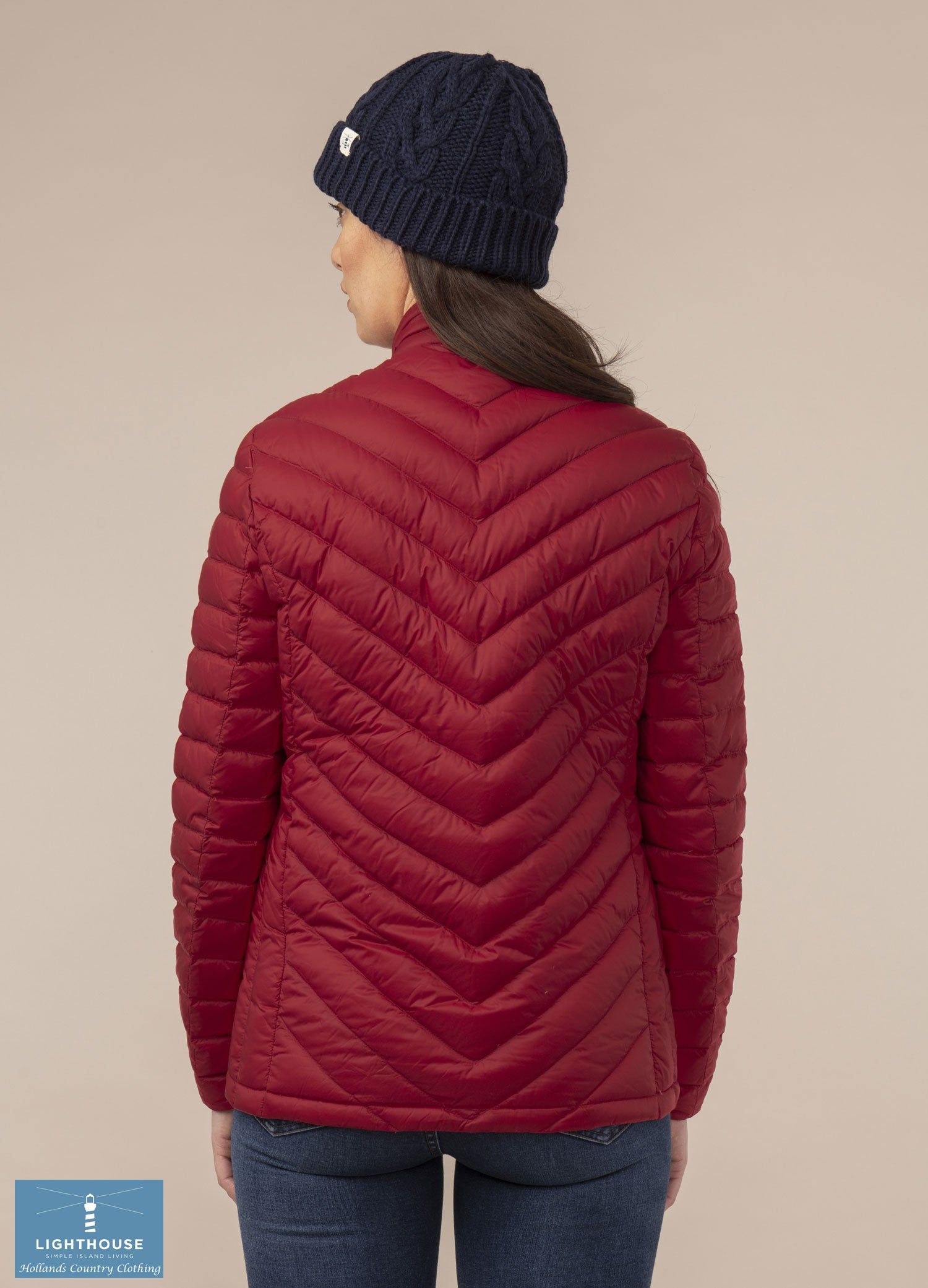 Back View Ladies Lighthouse Lara Down Jacket Deep Red