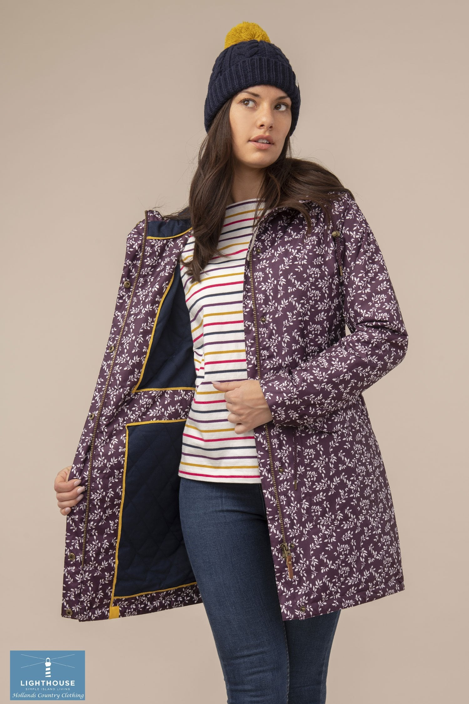 Blackberry floral Lauren Quilted Padded Waterproof Coat by Lighthouse
