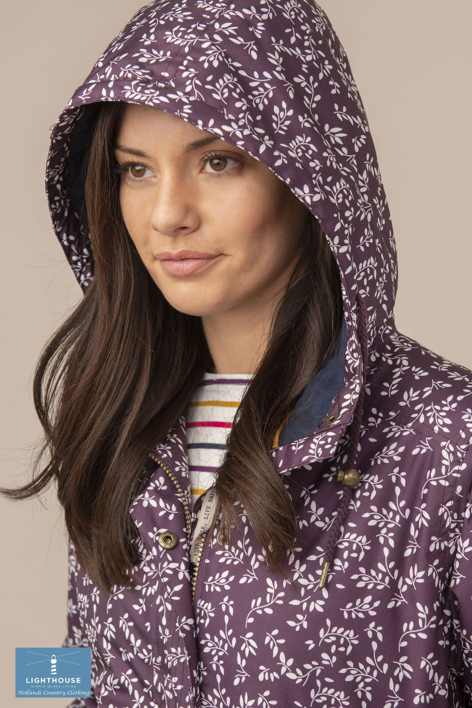 Blackberry hood up Lauren Quilted Padded Waterproof Coat by Lighthouse
