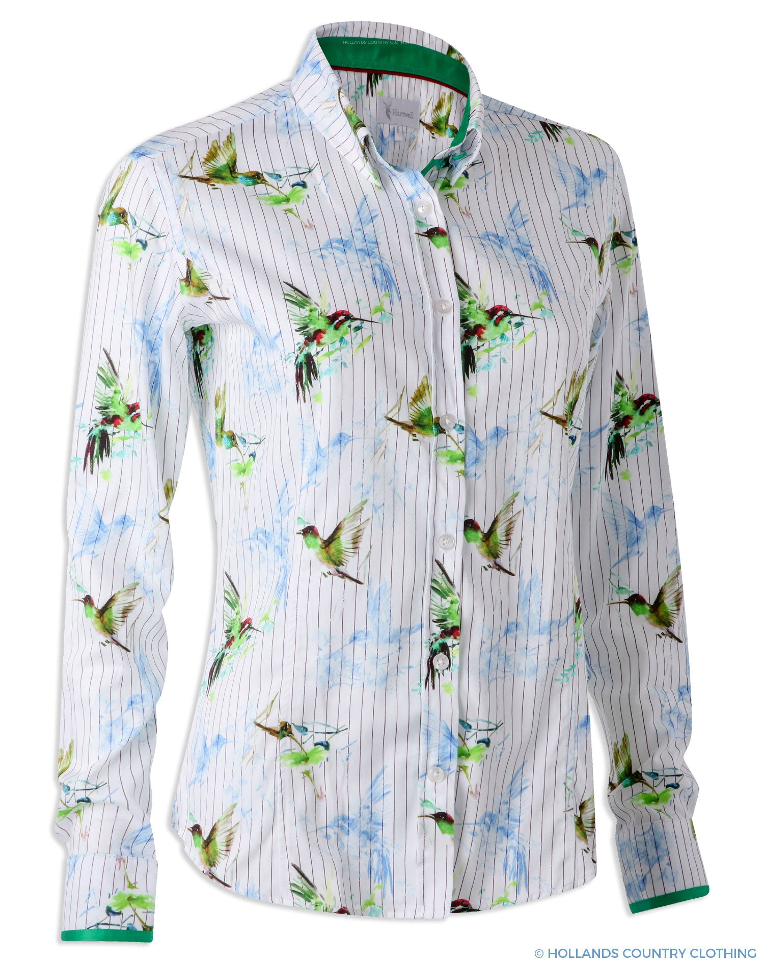 Hartwell Layla Cotton Shirt | Hummingbird Stripe Green