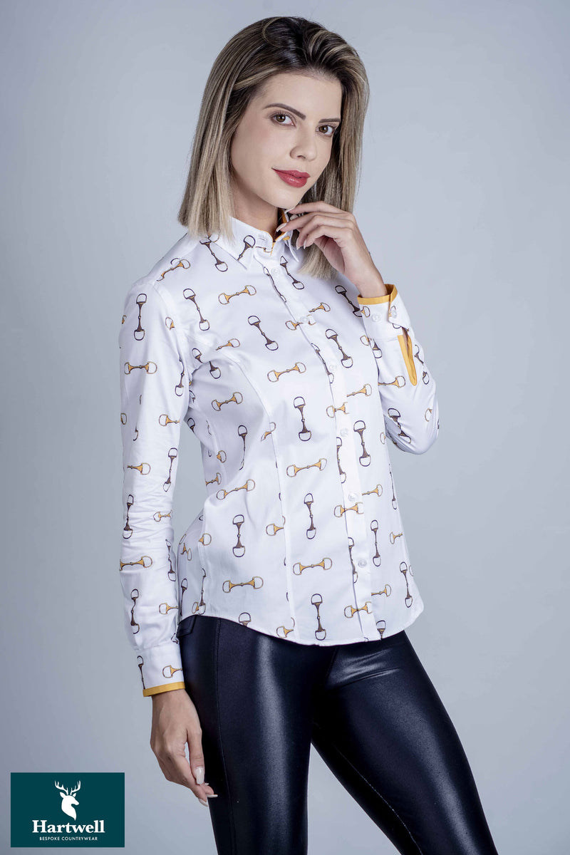 equestrian and horse loving customers, the Layla shirt with horse bridle  bit design detail