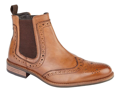 Roamers Leather Upper Brogue Dealer Boot | Tan