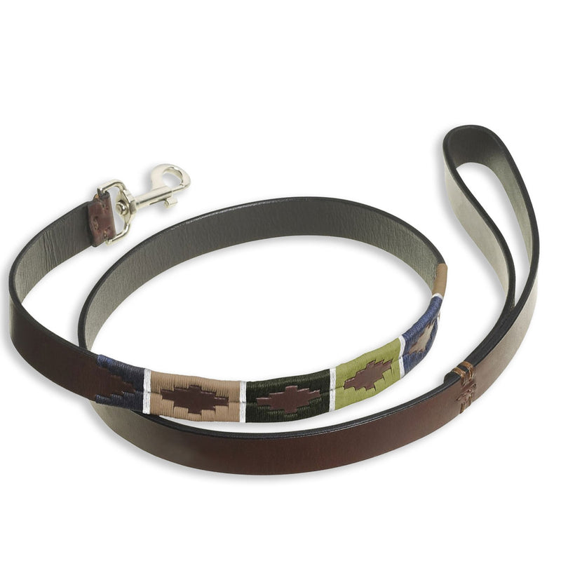 Green Brown Blue Pampeano Caza Leather Dog Lead