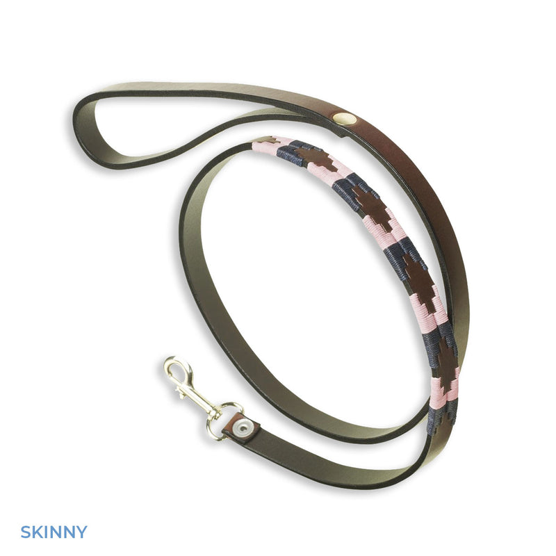 Skinny pink blue brown leather polo belt