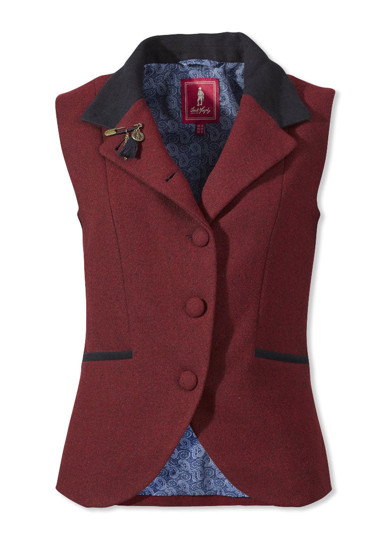 Jack Murphy Leona Tweed Waistcoat vintage red with moleskin collar