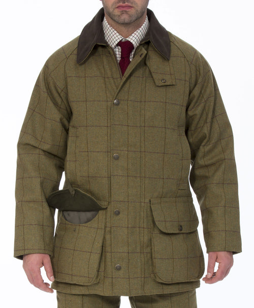Alan Paine Rutland Waterproof Tweed Shooting Jacket | Lichen