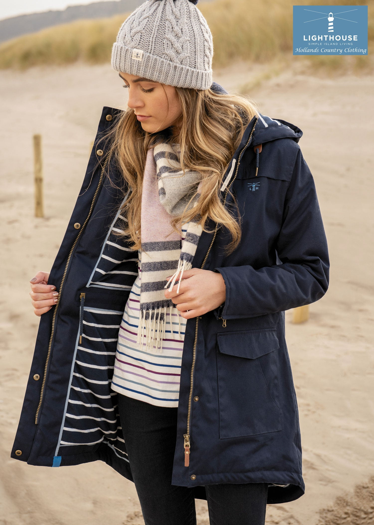 Showing the navy striped lining