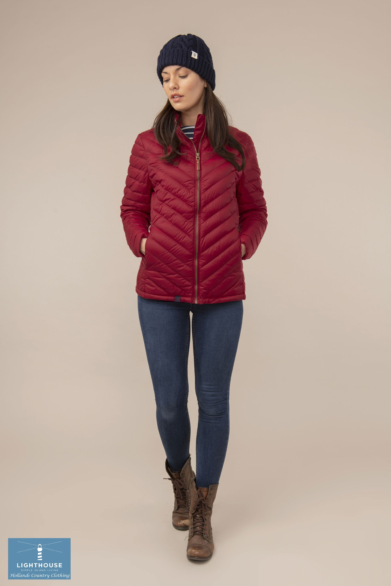 full length Ladies Lighthouse Lara Down Jacket Deep Red