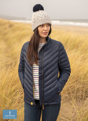 Worn at the beach Ladies Lara Quilted Down Jacket by Lighthouse