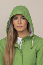 Meadow Green with hood up