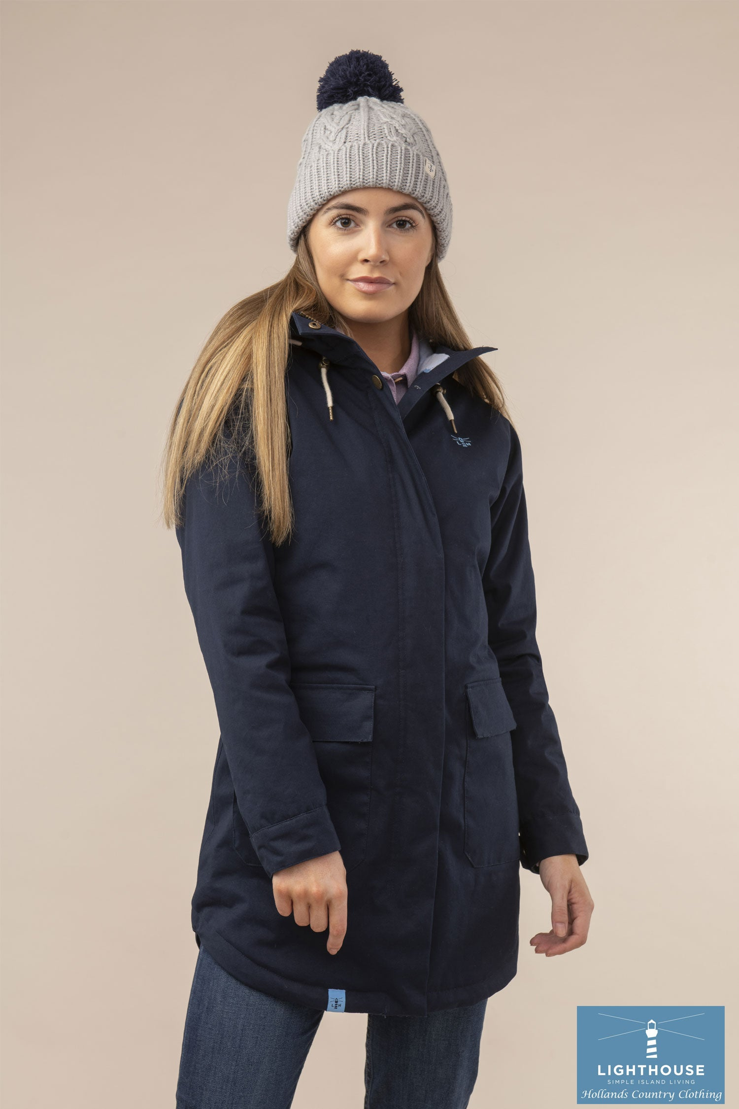 Worn with bobble hat