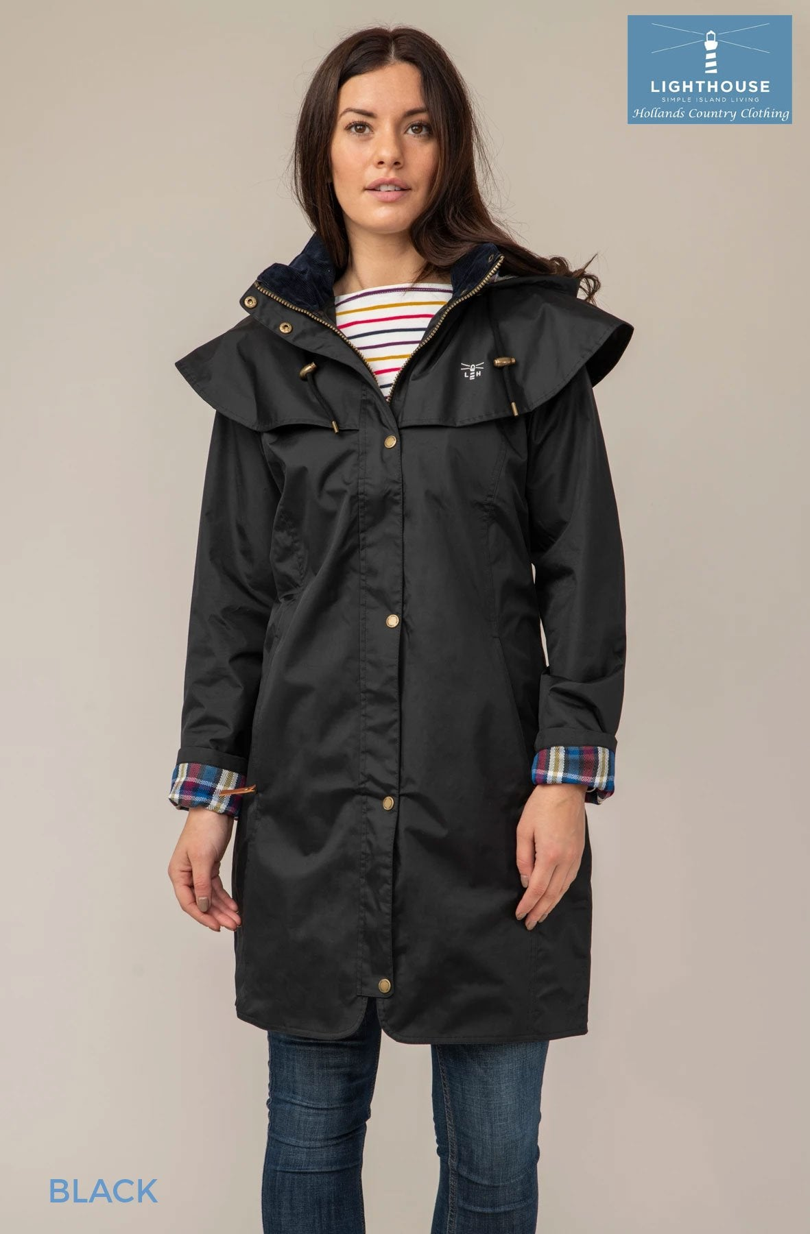 Outrider 3/4 Length Rain Coat by Lighthouse Black