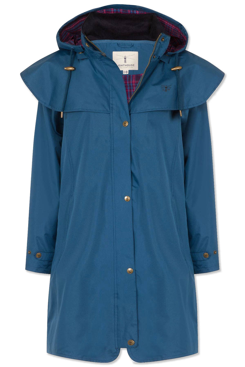 Teal Lighthouse Outrider 3 Ladies Three Quarter Waterproof Coat