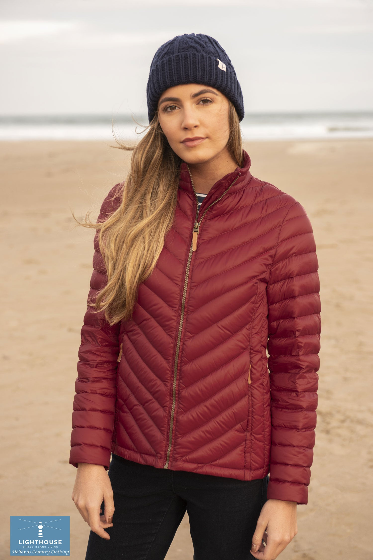 Lighthouse Lara Down Jacket Deep Red Chevron Quilt