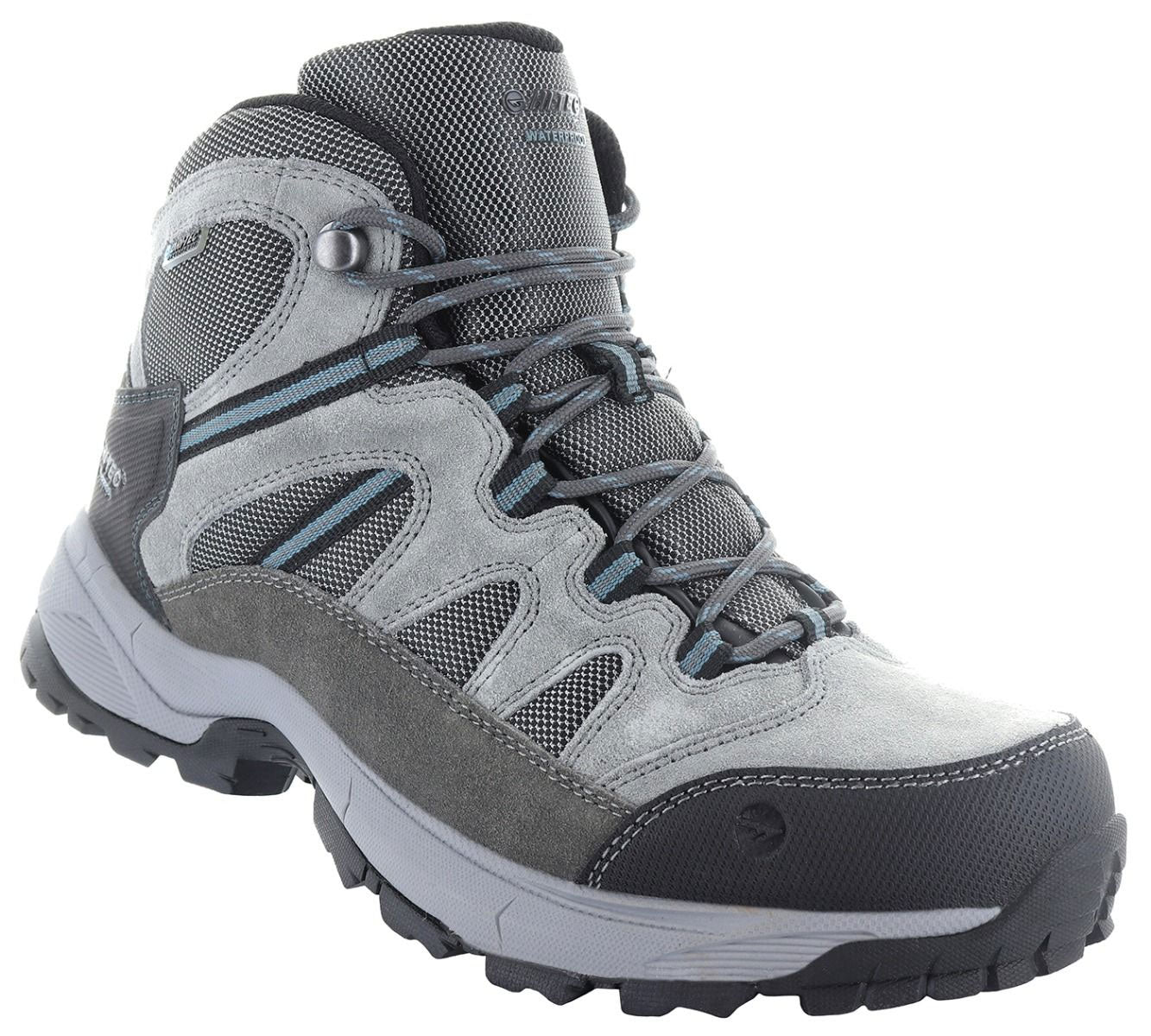 Grey and Blue Hi-Tec Bandera Lite Waterproof Hiking Boots