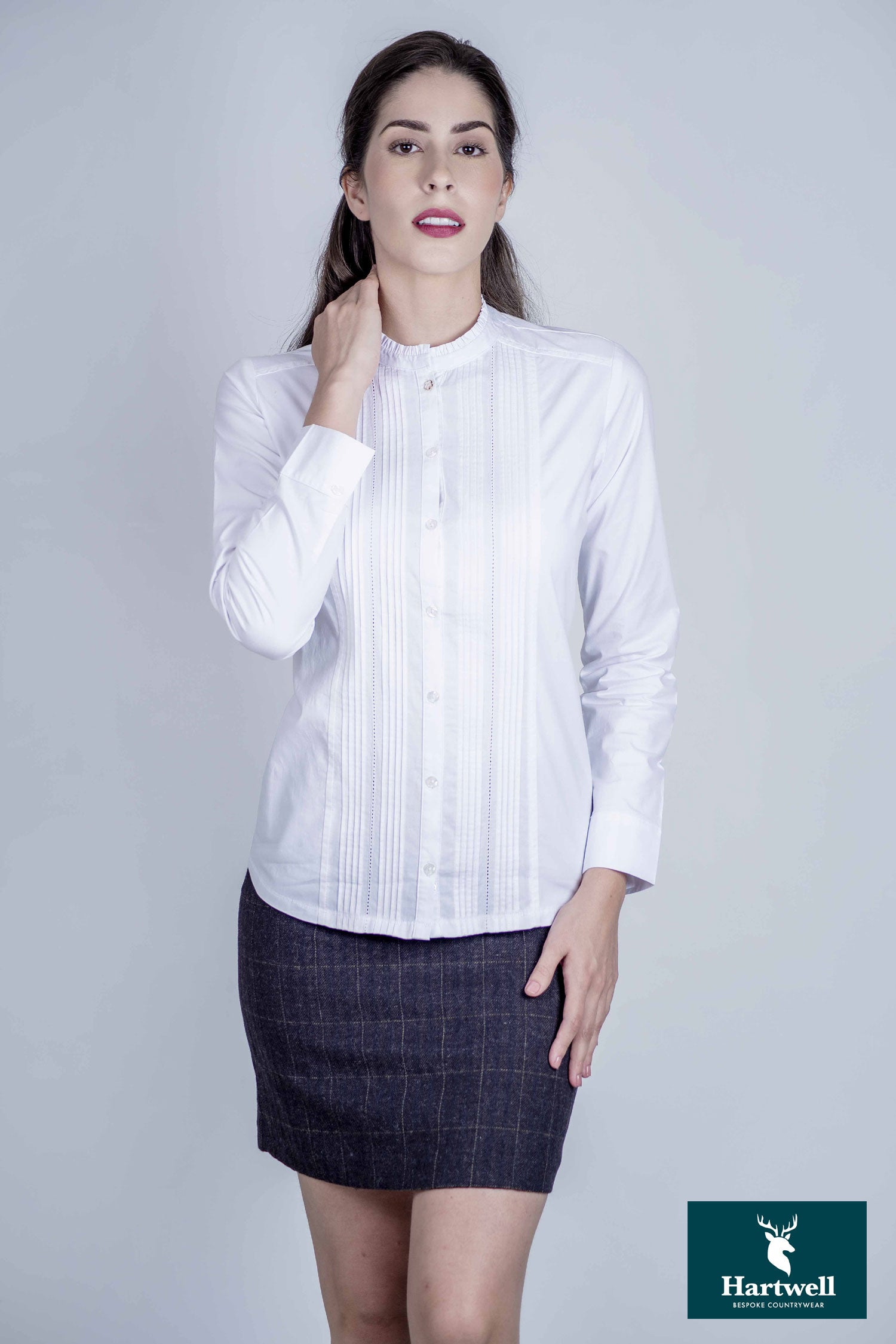 Ladies Hartwell Mona Cotton Shirt | Ruffle/Pleat White