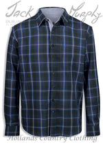Jack Murphy Lorcan All Cotton Long Sleeve Shirt in navy tartab