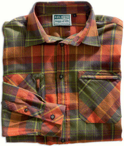 Luxury Hunting Shirt by Hoggs of Fife. in and oragne and green tartan