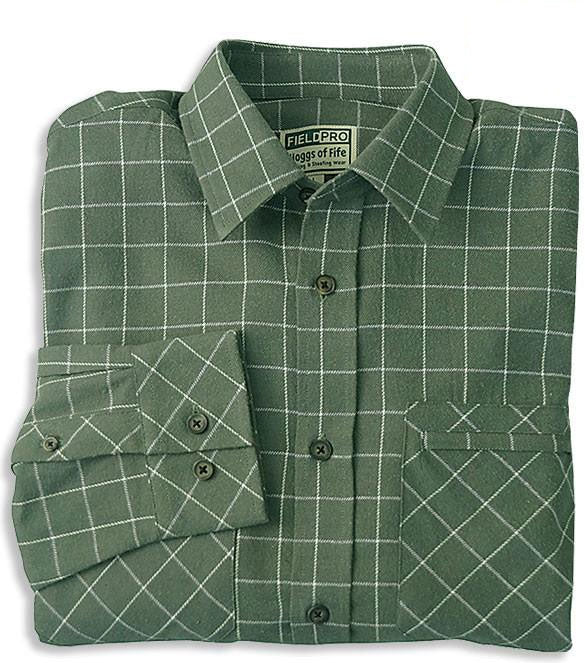 Pine All Cotton Luxury Hunting Shirt by Hoggs of Fife Green coplour