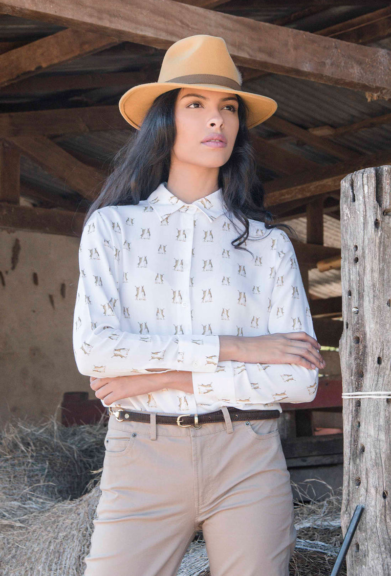 White shirt with country hares pattern